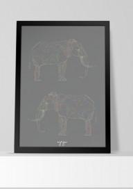 Plakat (P052) Słonie