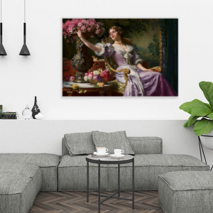 Obraz Dama w liliowej sukni z kwiatami Władysław Czachórski reprodukcja (R001)